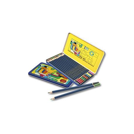 Набор цветных карандашей в металлическом боксе Оffice point