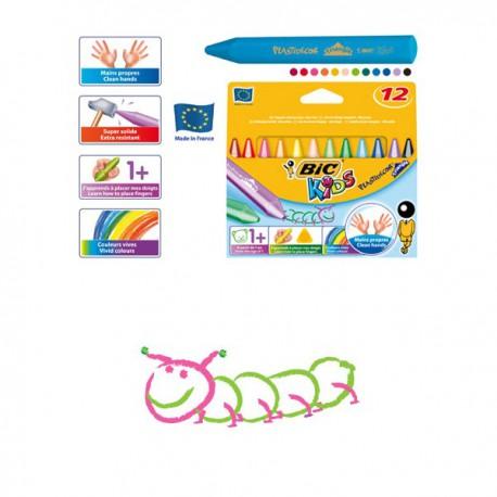 Набор цветных мелков 12 цветов Пластидекор BIC