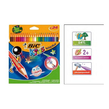Набор цветных карандашей 18+6 цветов Эволюшн BIC