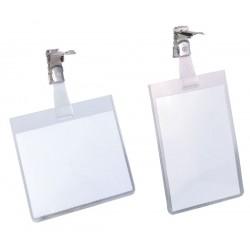 Бэйдж прозрачный горизонтальный с клипом 90x55